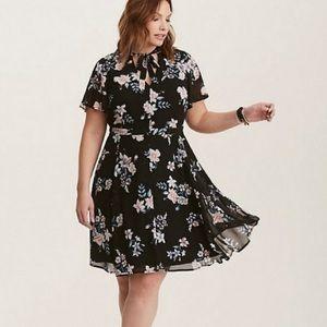 Torrid Black Skater Floral Chiffon Dress Size 20